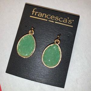 Green Stone teardrop earrings -pierced